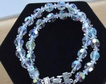 "On sale Sparkly Vintage Aurora Borealis Crystal Double Strand Bracelet, Rhinestone Clasp, 7-1/4"""