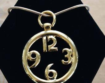 """On sale Pretty Vintage Gold tone Clock Pendant Necklace, 18"""", """"Napier""""  (U12)"""