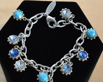 "ON SALE Blue Stone Charm Bracelet, Vintage, Silver tone, Gold tone, Blue, Clear Rhinestone, Faux Turquoise, ""Aeropostale"", 7-1/4"" (AN6)"