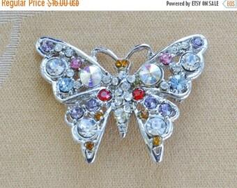 ON SALE Pretty Vintage Multi-Colored Rhinestone Butterfly Brooch, Pin, Silver tone (AH5)