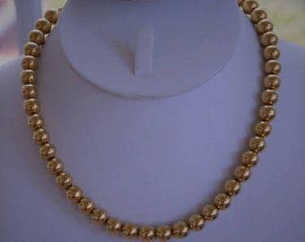 "ON SALE Gold Beaded 8mm Necklace, Adjustable, Vintage, 14""-16"" (W14)"