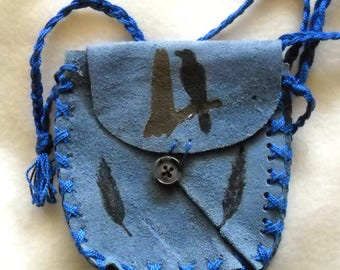 Raven Feathers Suede Medicine Bag, Shaman Spell Bag