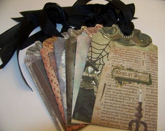 Halloween Tags Witch Tags Spells and Potions Tags Vintage Style Set of 6