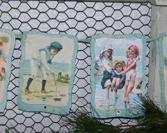 Summer Beach Banner Garland Vintage Style Children Summer Banner Wall Hanging