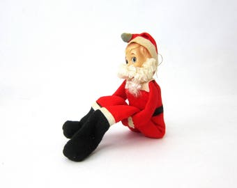 Vintage felt knee hugger Santa Clause Pixie Elf Doll Retro Christmas doll ornament Mid Century