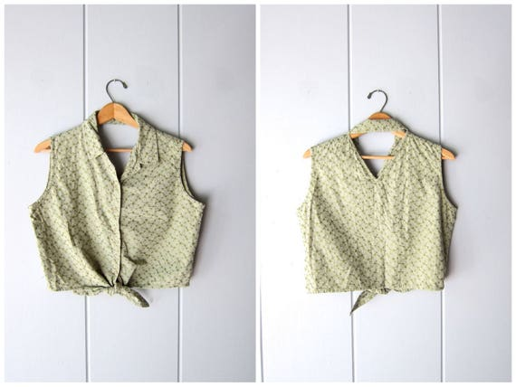 vintage 90s Tie Front Tank Green Cotton Crop Top Button Up Collared Tank Top Belly Shirt Embroidered Sleeveless T shirt Blouse Cut Out Back