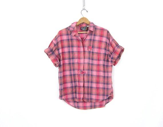 Vintage 80s Boxy Plaid Top Pink Button Up Tee Thin Cotton Shirt Slouchy Short Sleeve Preppy Plaid Shirt Womens Medium