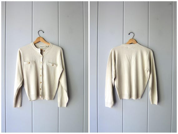 Vintage 90s Minimal Knit Sweater Button Up Cardigan Soft Knit Crop Sweater Preppy Buff Off White Sweater Top Simple Plain Womens Small