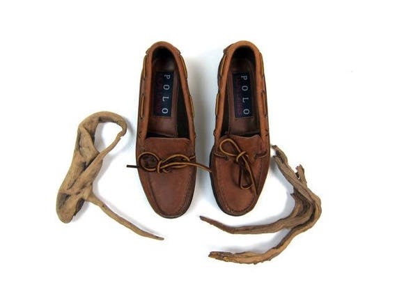 90s Deck Shoes Vintage Ralph Lauren Leather Boat Shoes Brown leather Moccasins Preppy Lace Up Oxfords Loafers Leather Lace Up Shoes Womens 6