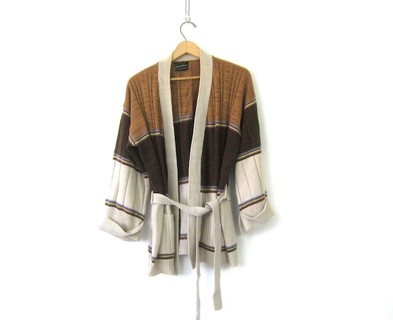 Boho Cardigan Sweater Coat 1970s Wrap Brown Belted Long Fall Colors Knit Bohemian Sweater Pockets Vintage Womens Size Medium Large