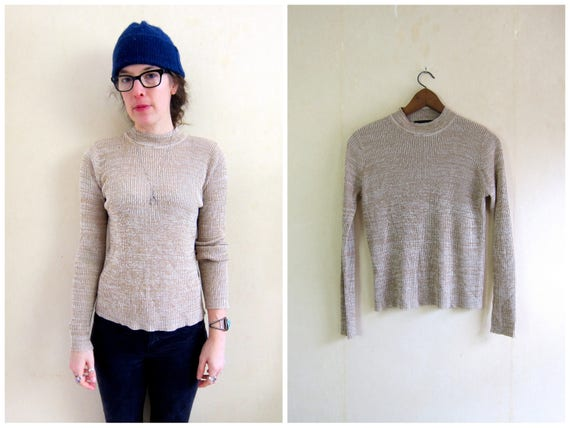 90s Rib Knit Shirt Beige White Ribbed Top Cotton Rib Shirt Thin Sweater Top Minimal Basic Preppy Long Sleeve Mock Neck Womens Small Medium