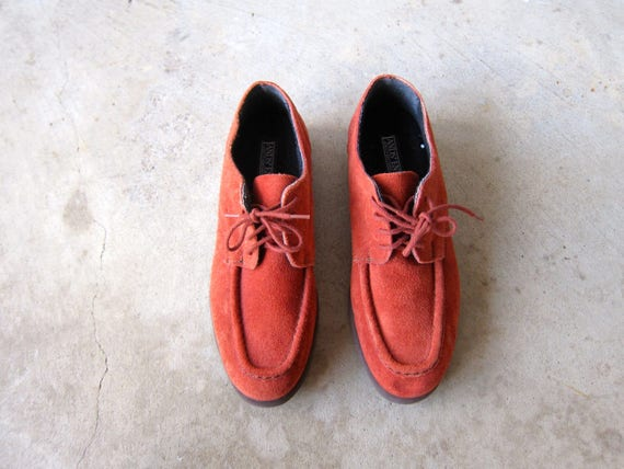 Vintage Oxfords Suede Loafers Terra Cotta Penny Loafers 80s Lace Up Suede Shoes Lands End Brogues Hipster Preppy Booties Womens 7.5