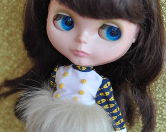 Mod Blythe Faux Fur Dress 14 Blue and yellow print dress by maker and muse
