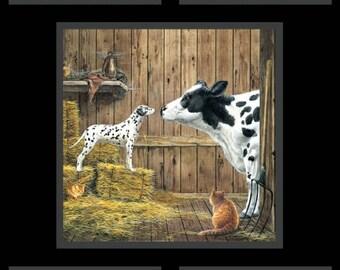 "24"" Fabric Panel - Elizabeth's Studio Farm Life Cow Barn Black Wallhanging"