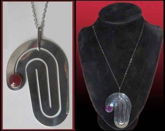 A MAZE, Very Large Modernist Sterling Silver Labyrinth Pendant, Carnelian Stone, Wear Up or Down, Maker Hallmark, Vintage Jewelry/Women