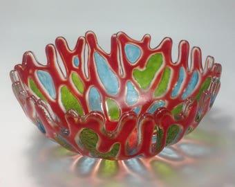 Coral Design Bowl, Fused Glass, Orange, Sky Blue, Green