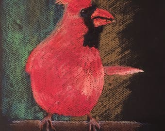 SPECIAL Cardinal 1, red bird, pastel drawing painting, wildlife art, collectible Texas artist