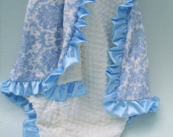 SALE Blue Damask and Cream Satin Ruffle Minky Baby Blanket Can Be Personalized