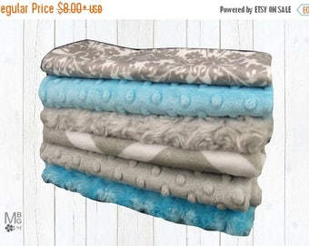 SALE Turquoise and Gray Baby Burp Cloths, Minky Layette Accessories, Baby Burp Burp Rags