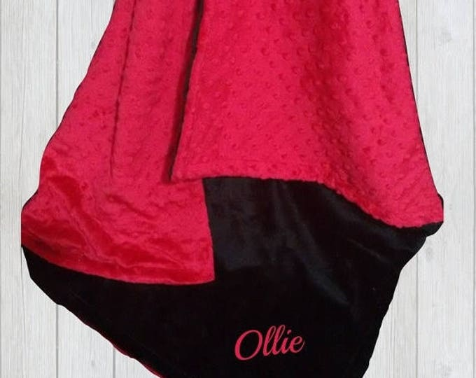 SALE Red and Black Minky Baby Blanket, available in three sizes Can Be Personalized