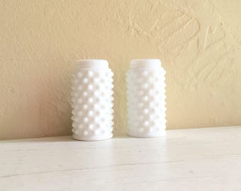 Pair of Small Hobnail Milk Glass Jars Vases Screw Top Edges 2 Two Matching Classic