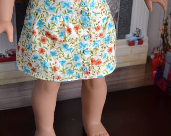 18 inch Doll Clothes - Fresh Floral Button Skirt  - YELLOW BROWN BLUE - flower garden - fits American Girl