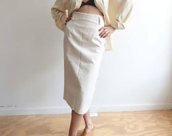 Vintage 90s Canvas Pencil Skirt/ High Waisted Fitted Midi Skirt/ 50s style/ off white ivory denim Skirt/ small 25