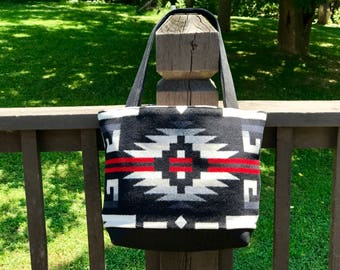 Wool Tote Bag XL / Purse / Diaper Bag Black Rio Rancho Tribal Handcrafted Using Fabric from Pendleton Woolen Mill