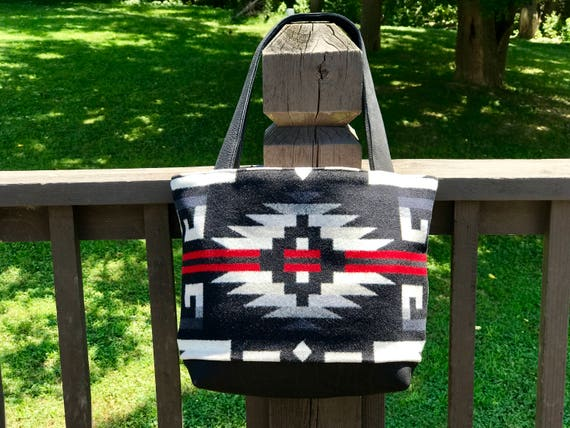 Wool Tote Bag XL / Purse / Diaper Bag Black Rio Rancho