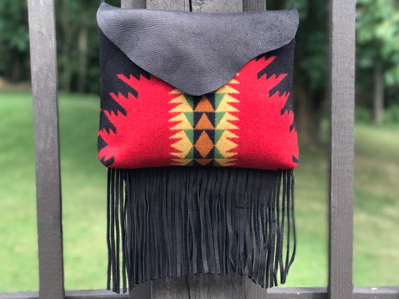 Fringed Messenger Purse Crossbody Wool & Leather Black and Red