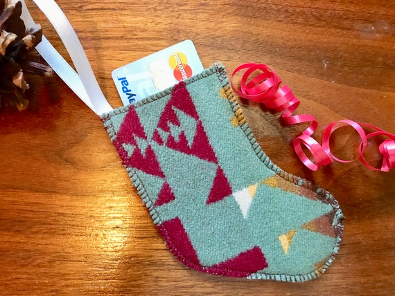 Christmas Stocking Ornament / Gift Tag / Gift Card Holder / Money Holder Wool Sage Green