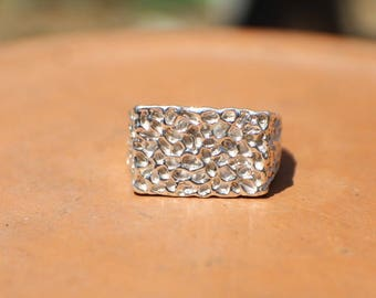 Sterling Silver Rectangular Statement Ring Size 8