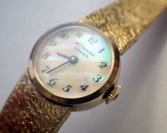 Vintage Ladies Wittnauer Gold Watch - Mother of Pearl Dial - MOP - Wind Up - Manual Wind - 1960s.