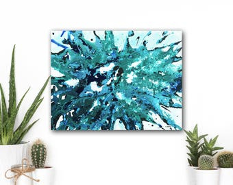 Blue Abstract Art Painting, Fluid Splash Art Canvas Wall Decor Modern Art Original Painting 18x24