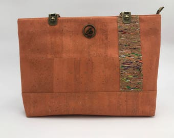 Cork Handbag, Cork Bag, Cork Purse, Cork Tote, Zipper Bag