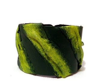 40% OFF SALE Green Casual Leather bracelet Womens fashion Cuff Wristband Bangle