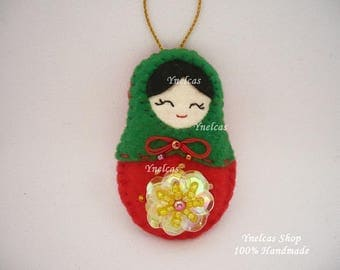 Matryoshka felt doll Christmas ornament  in red and green with sequins and beads