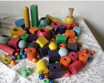 christmasinjuly COLORFUL Wooden Blocks and Beads