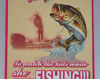 Women and Fishing Metal Sign