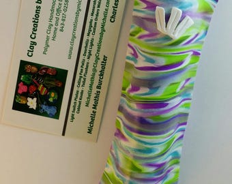 Mezuzah Green Purple Turquoise and White - Choice of one (#212 or #117 or #260)