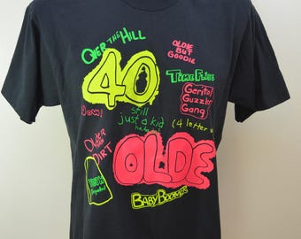 Vintage 40 OVER THE HILL t-shirt 1980's usa made size xl funny tee