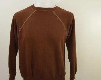 Vintage Chocolate BROWN sweatshirt 1960's 70's soft