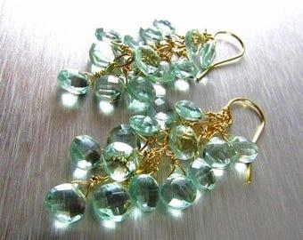 15% Off Aqua Green Quartz With Gold Fill Cluster Dangle earrings
