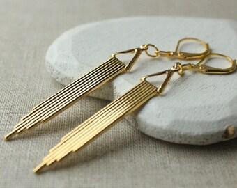Long Gold Art deco Earrings, Gold Deco Earrings, Geometric Earring Leverbacks or CLIP Earrings lightweight earring E203