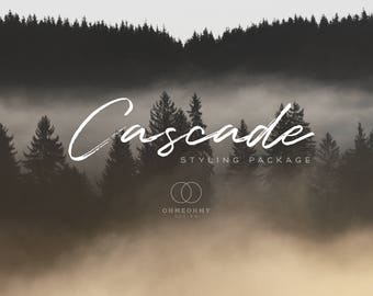 Cascade - Etsy Shop Styling Package with Logo, Cover, Icon, Placeholders - Full Storefront Branding Graphics Set - Rustic Woodland Forest