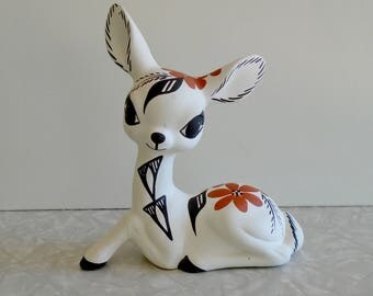 acoma pottery deer figurine, signed d. chino, traditional native american painting style, artist-signed, deer figurine, pueblo sculpture