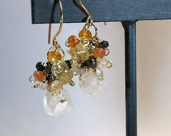 FLASH SALE Ivory Cluster Earring Wire Wrap Multicolor Gemstones Pearl Chalcedony Sunstone Mandarin Garnet Pyrite Keishi Pearl 14ktt Gold Fil