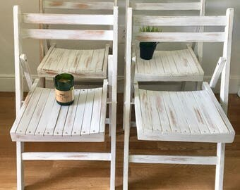 vintage distressed wooden painted 1950's mid century wedding or kitchen folding chairs set of 4