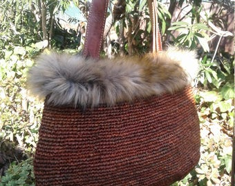 Boho Fur & Leather Crocheted Straw Bag