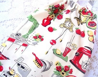 """Christmas in July Plastic Bag Holder - Grocery Bag Holder - Fifties Retro Kitchen - Choice of 2 Sizes - 26"""" Extra Large or 20"""" Medium"""